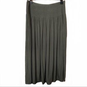 NWT J. Jill Pleated Maxi Skirt English Moss Large